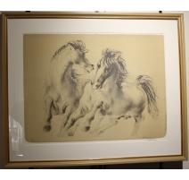 """Lithographie """"Chevaux"""" signée ERNI 49/60"""