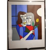 """Lithographie """"deux femmes"""" signée BATTISTA 42/100"""