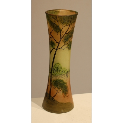 "Vase tube ""Paysage"" signé LEGRAS"