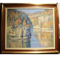 """Tableau """"Le Doubs"""" signé Maurice MATHEY"""