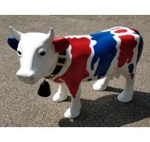 """Vache en résine """"Bleu blanc rouge"""""""