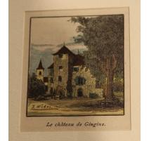 """Gravure """"Le Château de Gingins"""" par J. WEBER"""