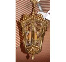 Lanterne en bronze doré, verres gravés