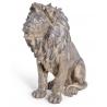 Lion assis en résine coloris bronze