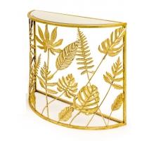 Console demi-lune Feuilles dorées plateau miroir
