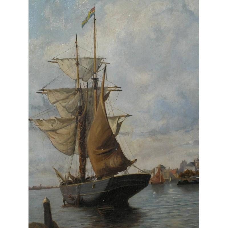 Peintures tableau vue d 39 un port moinat sa for Un porte vue