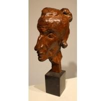 """Bronze """"Portrait Mme B. T."""" signé W. LINCK 48"""
