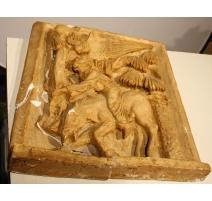 """Plâtre Bas relief """"Ange et âne"""" signé BAUD"""