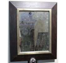 Miroir en bois à bordure argentée