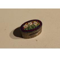 Boite miniature en argent et micromosaïque