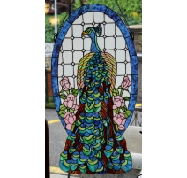 "Panneau de vitrail style Tiffany ""Paon"""