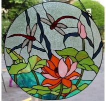 """Panneau de vitrail rond style Tiffany """"Libellules"""""""