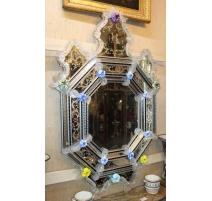 Miroir Murano Belisandra en verre gravé, Fleurs
