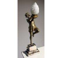 Lampe Art-Nouveau danceuse en régule