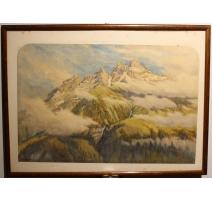 """Aquarelle """"Montagnes"""" signée E.H. BURT-SMITH"""