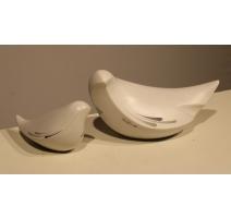 Paire de colombes en porcelaine de Porta Celi