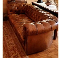 Canapé Chesterfield en cuir havane