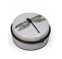 Boite ronde libellule en céramique