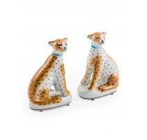 Paire de léopards en céramique