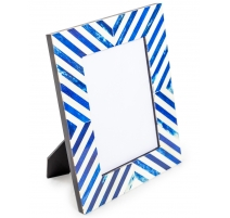 Cadre rayé bleu et blanc