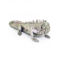 Grand iguane en résine argentée