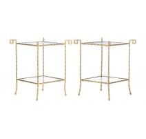 Paire de tables bouts de canapé à armature bambou