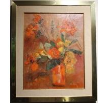"""Tableau """"Bouquet orange"""" signé M. FAES 79"""