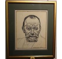 """Gravure """"Autoportrait"""" par Ferdinand HODLER 1916"""