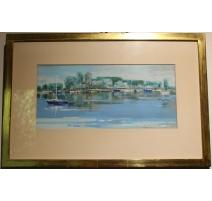 """Pastel """"Bord du Lac"""" signé R. GUIGNARD 80"""