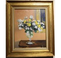 "Tableau ""Les fleures blanches"" signé STAUFFER"