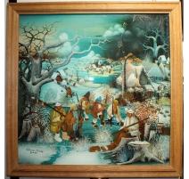 """Peinture sous verre """"Patins à glace"""" signé IVANCAN"""