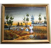 """Peinture sous verre """"Moissons"""" signé GREGURIC A."""