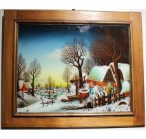 "Peinture sous verre ""L'hiver"" signé I. POPEC"