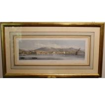 """Gravure """"Panorama de Vevey"""" par HOFER"""