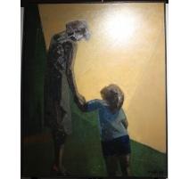 """Tableau """"La mère et l'enfant"""" signé MAFLI 79"""