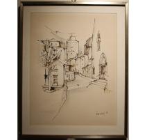 "Dessin ""Château d'Orbe"" signé PERRENOUD 82"