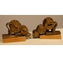 """Paire de sculptures """"Rouages"""" par MAFLI"""