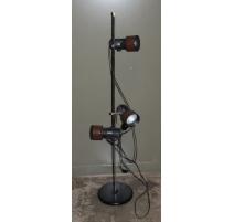 Lampe vintage triple en métal brun