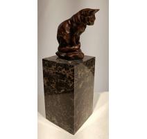 Bronze Chat assise socle en marbre