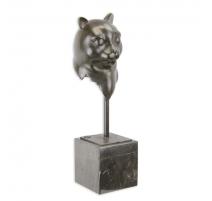 """Bronze """"Tête de chat"""", socle en marbre"""