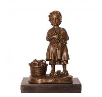 """Bronze """"Fillette aux raisins"""", socle en marbre"""