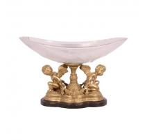 Coupe ovale en cristal sur deux anges en bronze