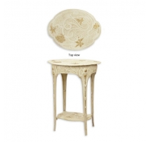 Table d'appoint Fleurs en fonte blanche
