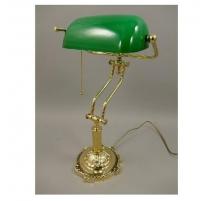 Lampe de banquier en laiton poli et globe vert