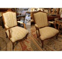 Paire de fauteuils Régence dossier plat
