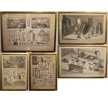 Lot de 5 gravures Métiers par BENARD