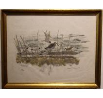 """Gravure """"Pointe-à-la-Bise"""" signé Robert HAINARD"""