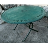 Table ronde en fer forgé vert