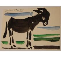 """Carte aquarelle """"Âne"""" signée Javier VILATO 1955"""