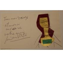 """Carte technique mixte """"Buste"""" signée Javier VILATO"""